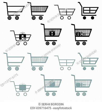 Cart for shopping black and grey color Flat style