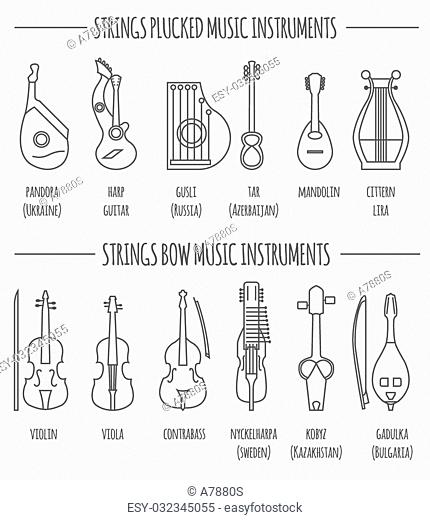 Bow fiddle rock stock photos and images age fotostock musical instruments graphic template strings plucked and bow vector illustration maxwellsz