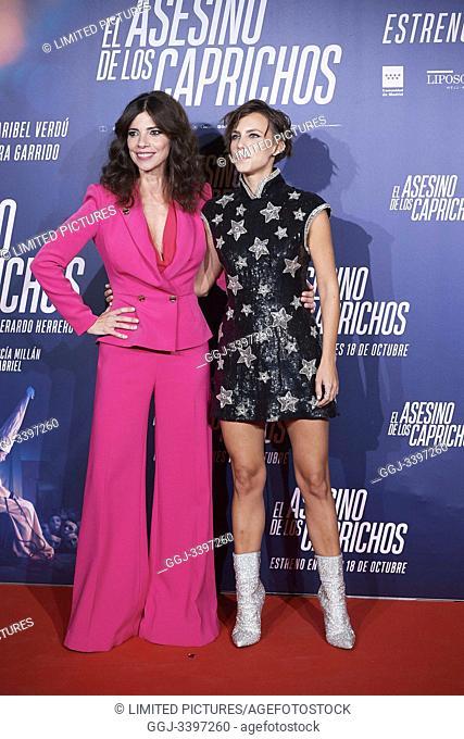 Maribel Verdu, Aura Garrido attends 'El asesino de los caprichos' premiere at Verdi Cinema on October 15, 2019 in Madrid, Spain