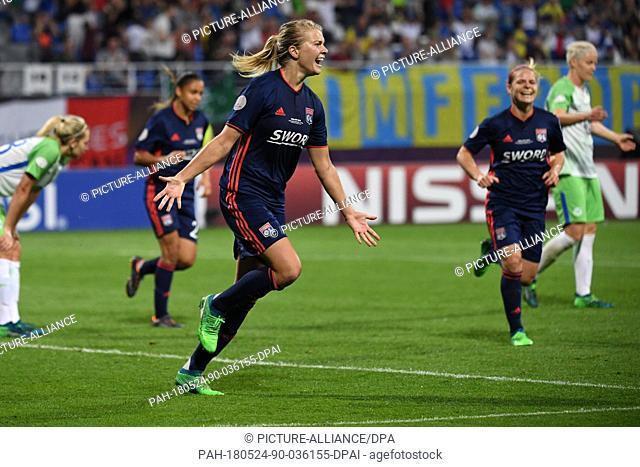 24 May 2018, Ukraine, Kiev: Women's football, Champions League, VfL Wolfsburg vs Olympique Lyon at the Valeriy Lobanovskyi Dynamo Stadium