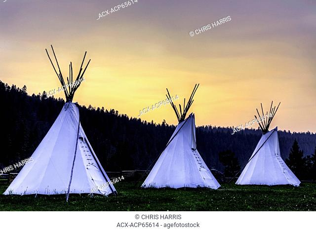 Tipis, Xatsull Village, First Nations Village, Willaims Lake, British Columbia, Canada