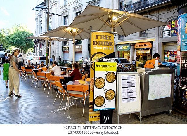 Rambla of Santa Monica, Ramblas, Barcelona, Catalonia, Spain