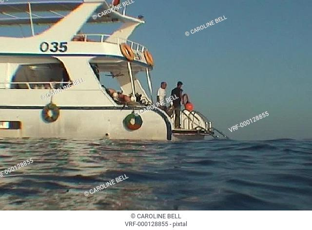 surface view of dive boat