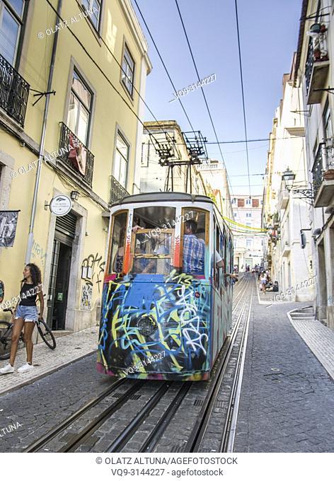 Bica Funicular, Elevador da Bica, Bairro Alto, Rua da Bica de Duarte Belo, Lisbon, Portugal