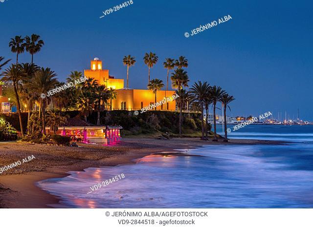 Bil-Bil castle built in neo-Arab style in 1934, Benalmadena. Malaga province Costa del Sol. Andalusia Southern Spain, Europe