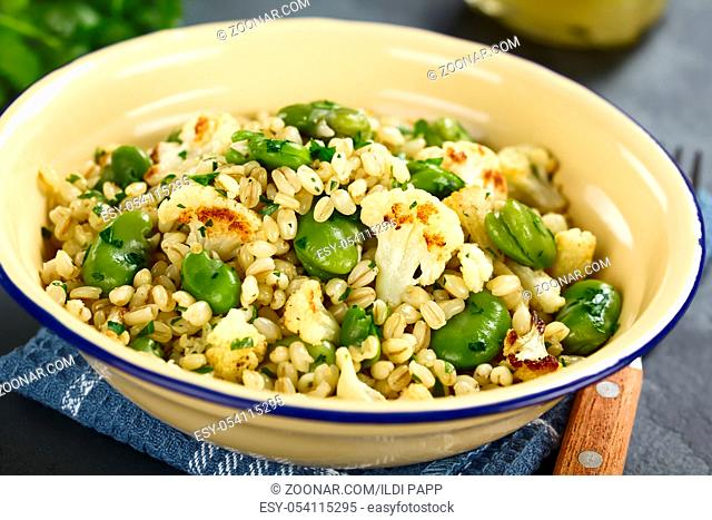 Fresh homemade vegan salad made of pearled barley, broad beans, roasted cauliflower and parsley (Selective Focus, Focus in the middle of the image)