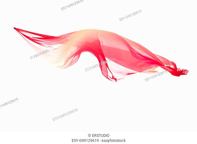 pink and yellow transparent flying fabric isolated on white background. cloth in the wind