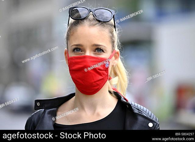 Bayern fan, woman wearing FC Bayern Munich face mask, red, portrait, corona crisis, Germany, Europe