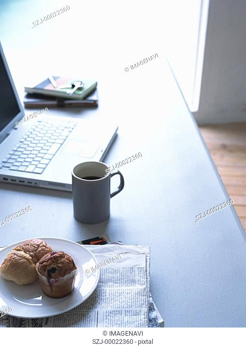 Breakfast on desk