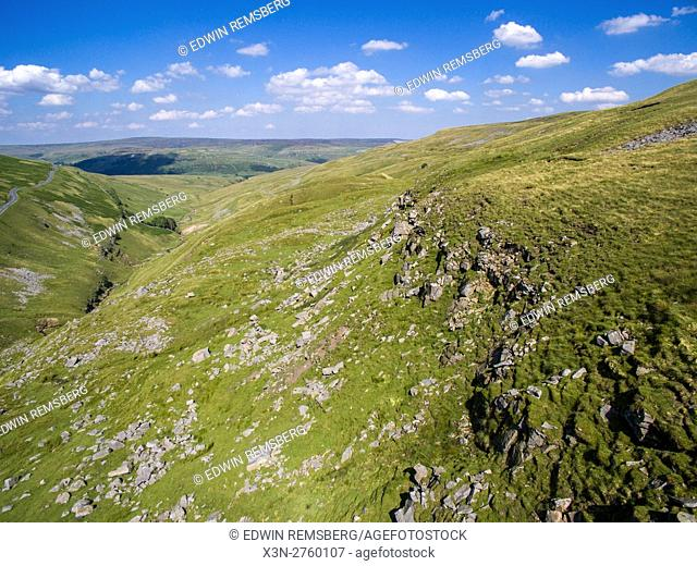 Wensleydale, England- Aerial view between Wensleydale and Swaledale in Yorkshire, England