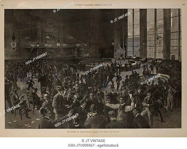 The Board of Trade, Chicago, Drawn by W.A. Rogers, Harper's Weekly, August 15, 1891