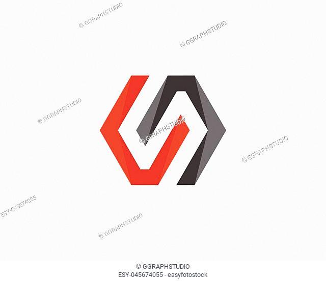S Logo Hexagon illustration Icon Vector Template