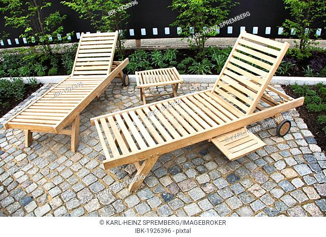Garden benches made of wood