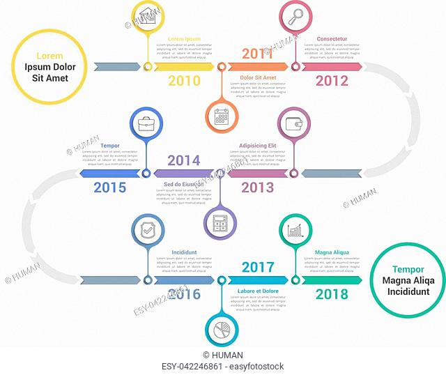 Timeline infographics template with arrows, workflow or process diagram, vector eps10 illustration