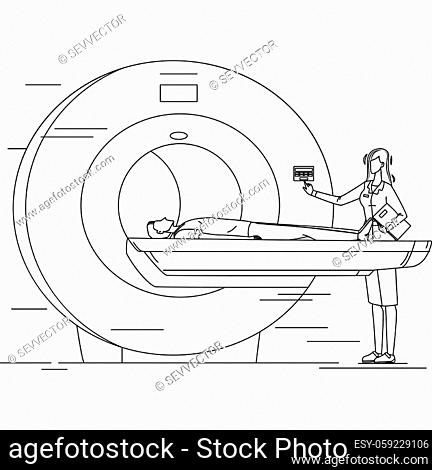 Nurse Preparing Patient For Mri Scan Test Black Line Pencil Drawing Vector. Doctor Testing Man Health In X-ray Mri Hospital Equipment