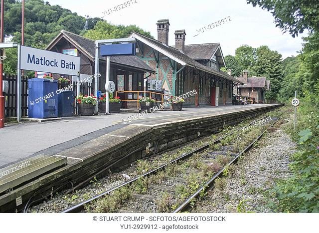 East Midlands Trains Grade II Listed Railway Station on the Derwent Vally Line at Matlock Bath in Derbyshire UK