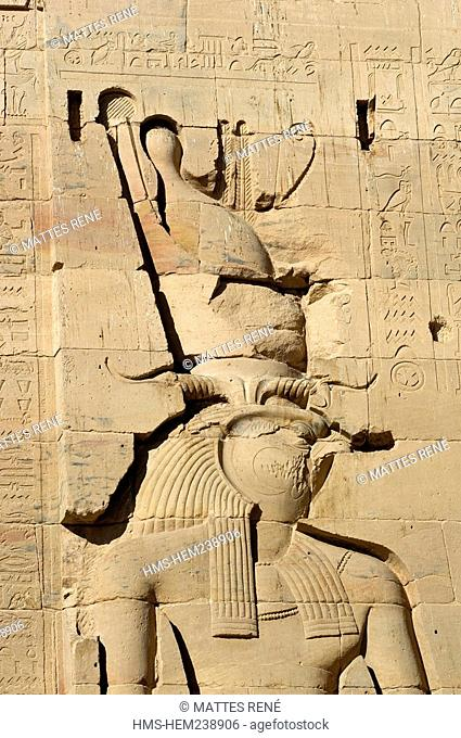 Egypt, Upper Egypt, Nubia, Nile Valley, Aswan, Agilka Island, Philae Temple listed as World Heritage by UNESCO, Horus God