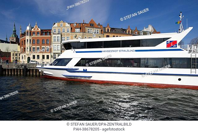 The Hiddensee ferry 'Handestadt Stralsund' sits at port in Stralsund, Germany, 09 April 2013. The company that operates the Hiddensee ferry is raising prices...