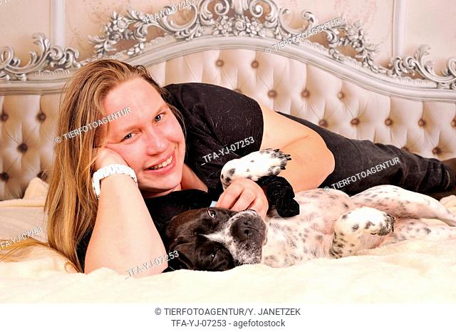 woman and mongrel