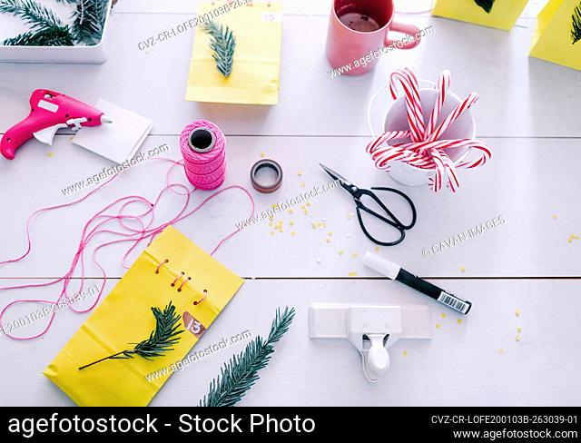 Over view making Holiday decor and advent calendar sewing paper bags