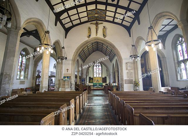 PAINSWICK ENGLAND ON OCTOBER 12, 2019: One of the most beautiful villages in the Cotswolds. Church of St Mary interior