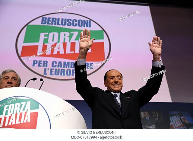 Italian politician Silvio Berlusconi during the National Assembly of Forza Italia We begin the journey to change Europe and give new hope to Italy at the...