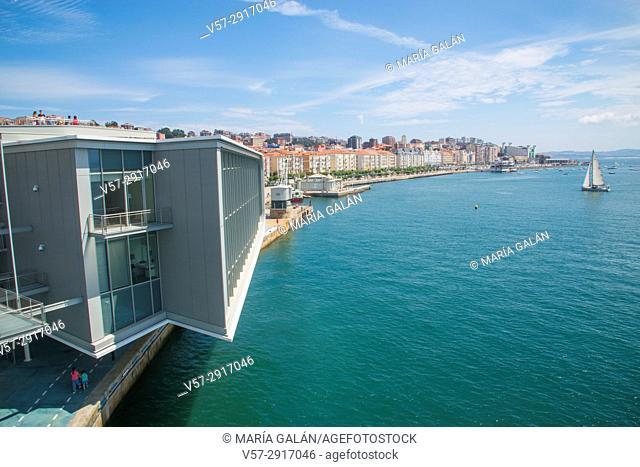 Facade of Botin Center and view of the city from a viewpoint. Paseo de Pereda, Santander, Spain