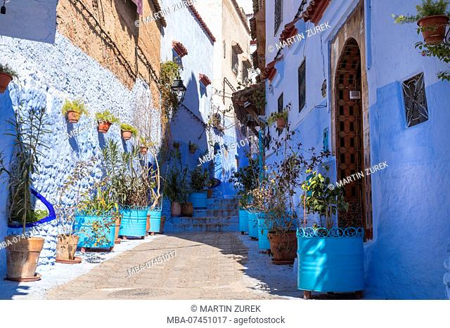 Blue Alley in Chefchaouen, Morocco, North Africa, Africa