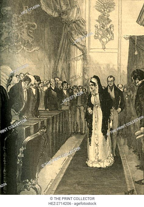Queen Caroline entering the House of Lords during her trial, Westminster, London, 1820 (c1890). Creator: Unknown