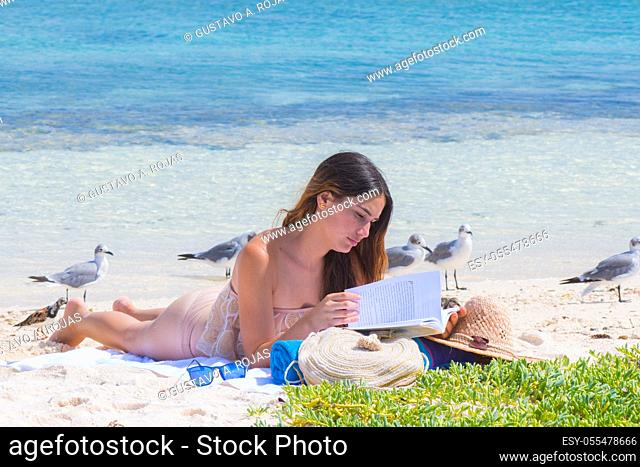 woman the beach, reading a book with screened Laughing gull