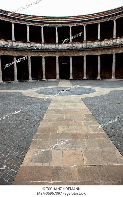 Spain, Andalusia, Granada, Alhambra, Courtyard of the Palace of Charles V, Palace of Charles V