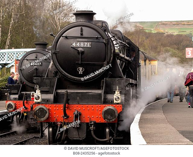 vintage steam locomotive 44871 LMS at Grosmont station, on The North Yorkshire Moors Railway, Yorkshire, UK