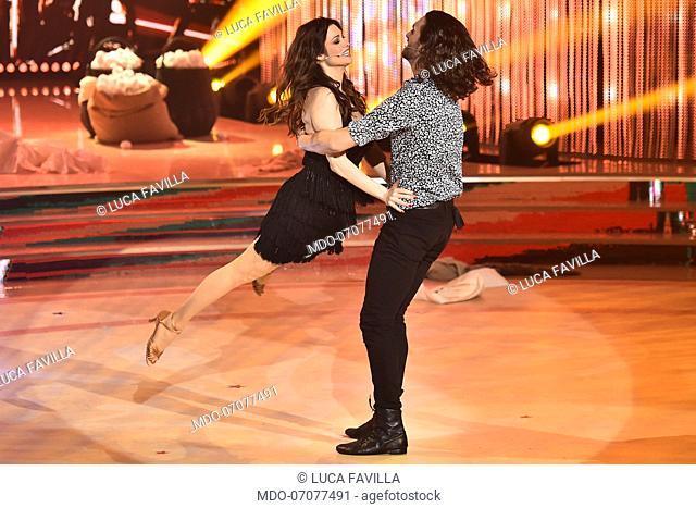 The Italian actress Manuela Arcuri with her dance master Luca Favilla during the fourth episode of the show Ballando Con Le Stelle auditorium Rai Foro italico