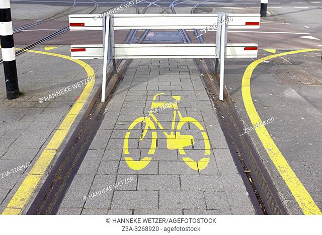Blocked bicycle road that used to be a tram line, Rotterdam The Netherlands, Europe