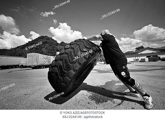 Switzerland, Canton Ticino, Bedano, Paolo Sagliocco Strongman