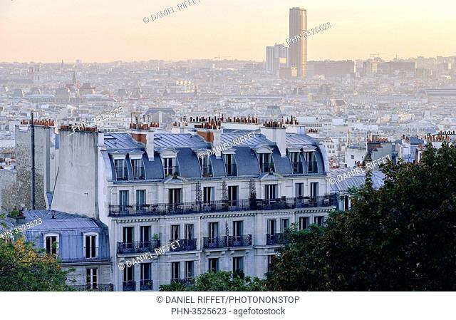 France, Paris, hill of Montmarter, panoramic view on the rooftops of Paris