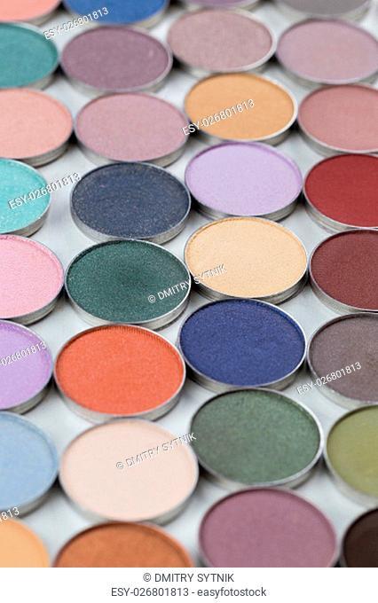 assortment make-up cosmetics powder in small pots