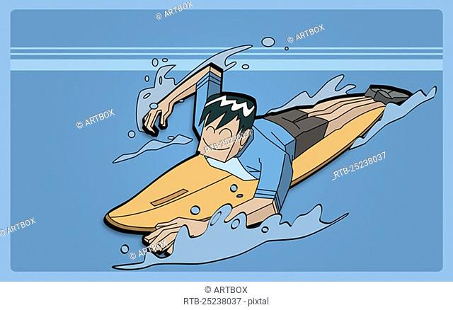 High angle view of a man surfing
