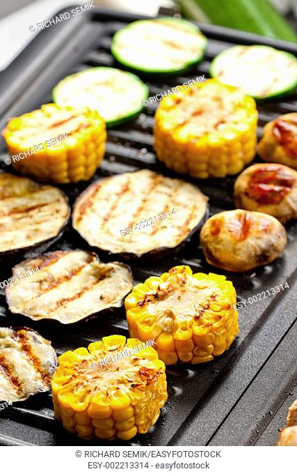 vegetables on electric grill