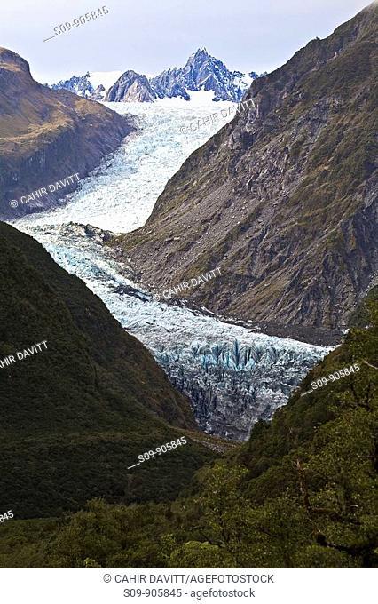 New Zealand, New Zealand, Weheka, Fox Glacier Te Moeka o Tuawe with Mount Halcombe and Mount Tasman in the background