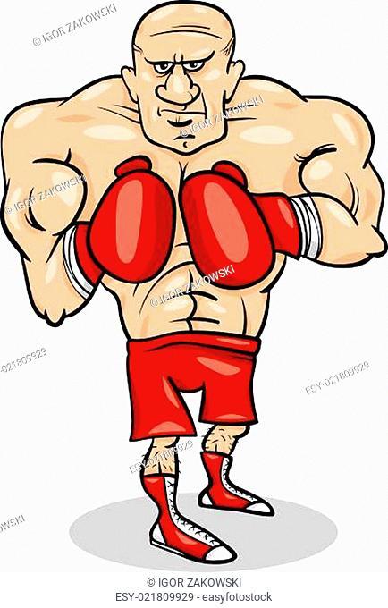 boxer sportsman cartoon illustration