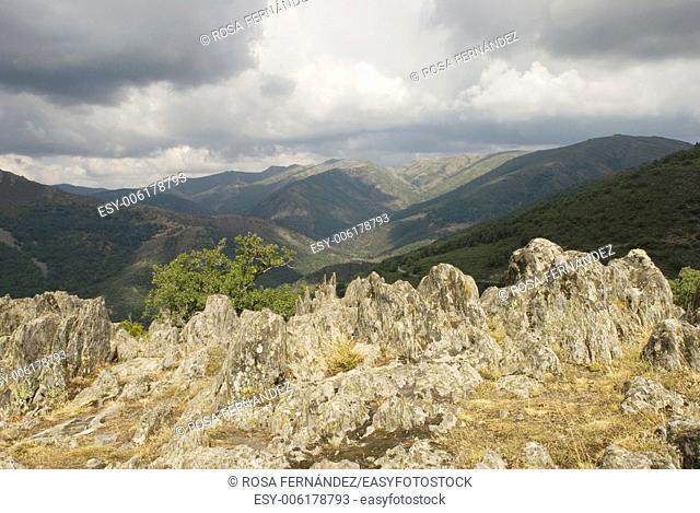 View of Ayllon Mountains and slate rocks, province of Guadalajara, Castilla La Mancha, Spain