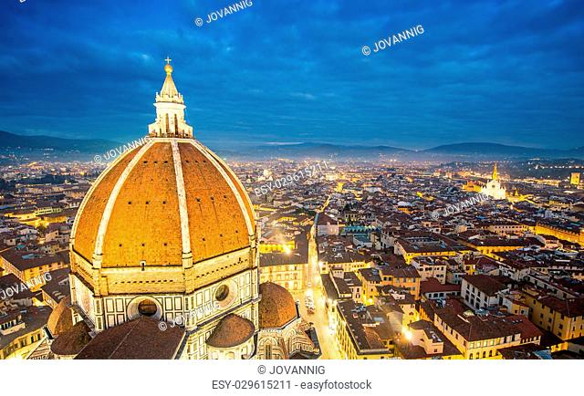 Florence (Italy) - Aerial bird eye view at sunset from Giotto Campanile (Giotto bell tower)