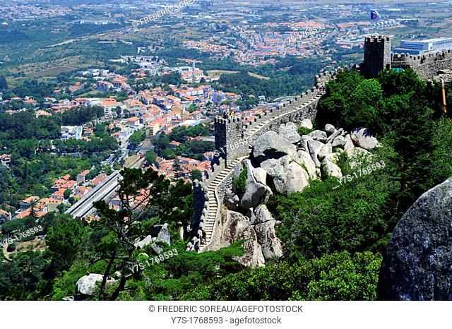 An ancient stronghold in the mountains near Sintra,Portugal,Europe  Castelo Dos Mouros