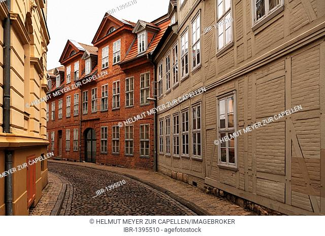 Old renovated brick and timber-framed house, Ritterstrasse, Schwerin, Mecklenburg-Western Pomerania, Germany, Europe