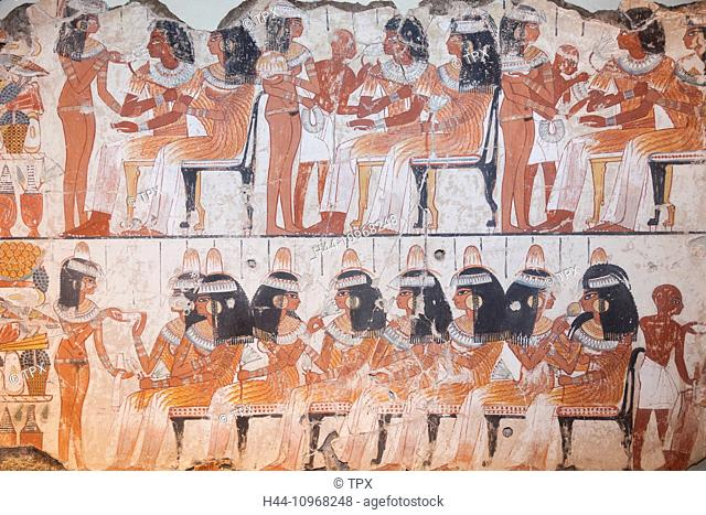 England, Europe, London, British Museum, The Tomb of Nebamun, Painting of Guests