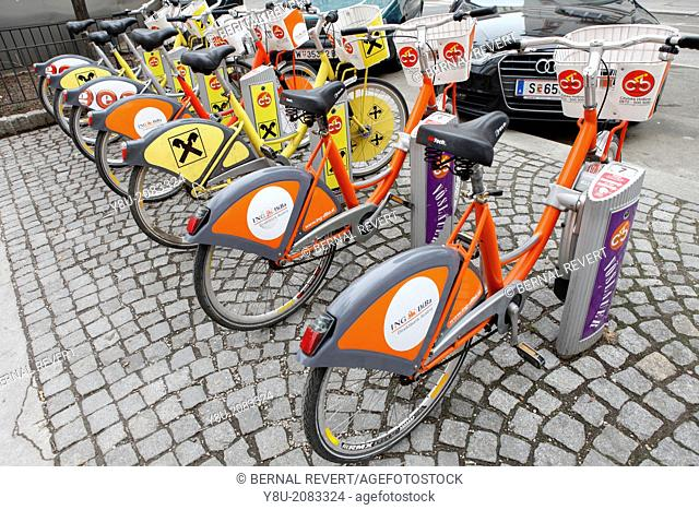 Bikes at station of Vienna sharing system Citybike