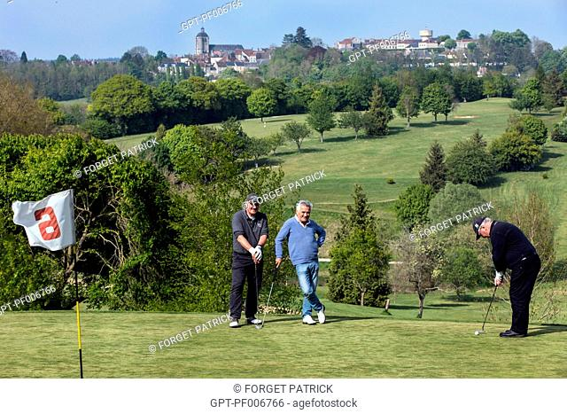 18-HOLE GOLF COURSE WITH VIEW OF THE VILLAGE, BELLEME (61), TOWN IN THE REGIONAL PARK OF THE PERCHE, VILLAGE OF CHARACTER, NORMANDY, FRANCE
