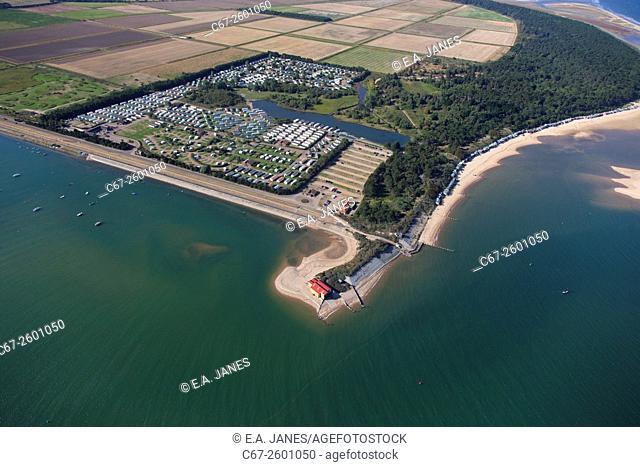 Lifeboat station beach huts caravan park at Wells next-to-sea Norfolk UK