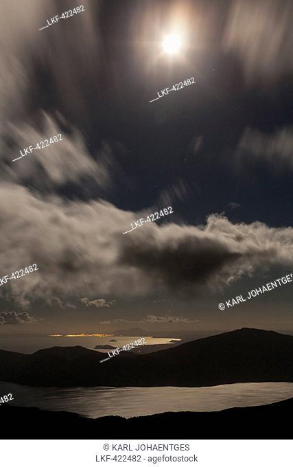 Moonlight over Lake Rotoaira, Tongariro Alpine Crossing, Tongariro National Park, North Island, New Zealand